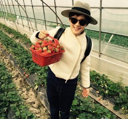 孙俪带孩子摘草莓 等等和花花认真的样子太萌了